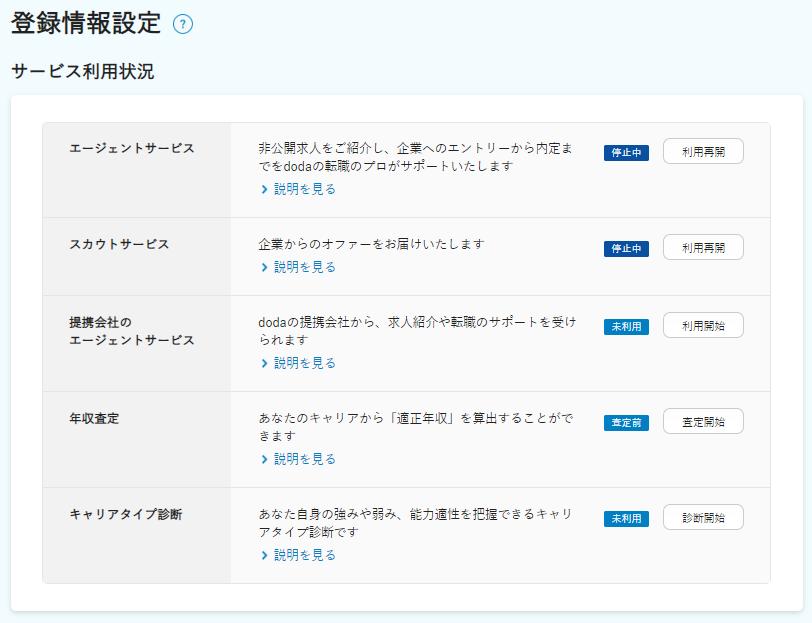 dodaの登録情報設定